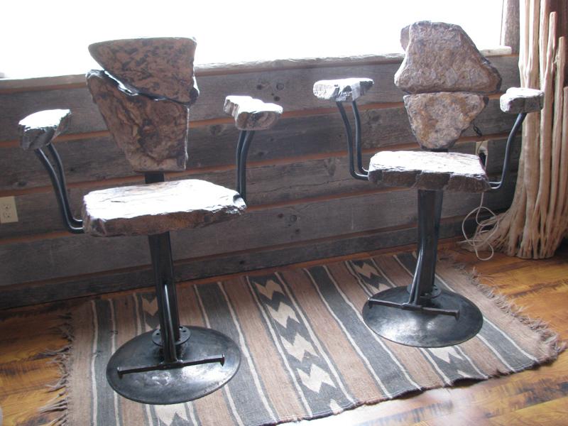 Stone Furniture Swivel Bar Stools