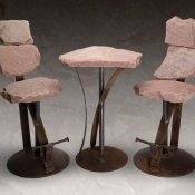 Bar Set Non-Swivel Red Flagstone