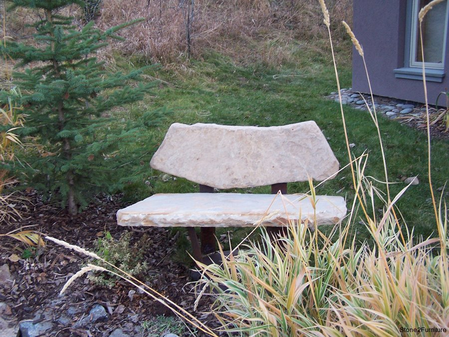 Engraved Stone Garden Bench Benches