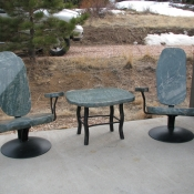 Deep Seating in Polished Green Marble