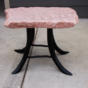 Red Flagstone End Table, Stone End Table