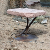 Red Flagstone Table with Swoosh Base