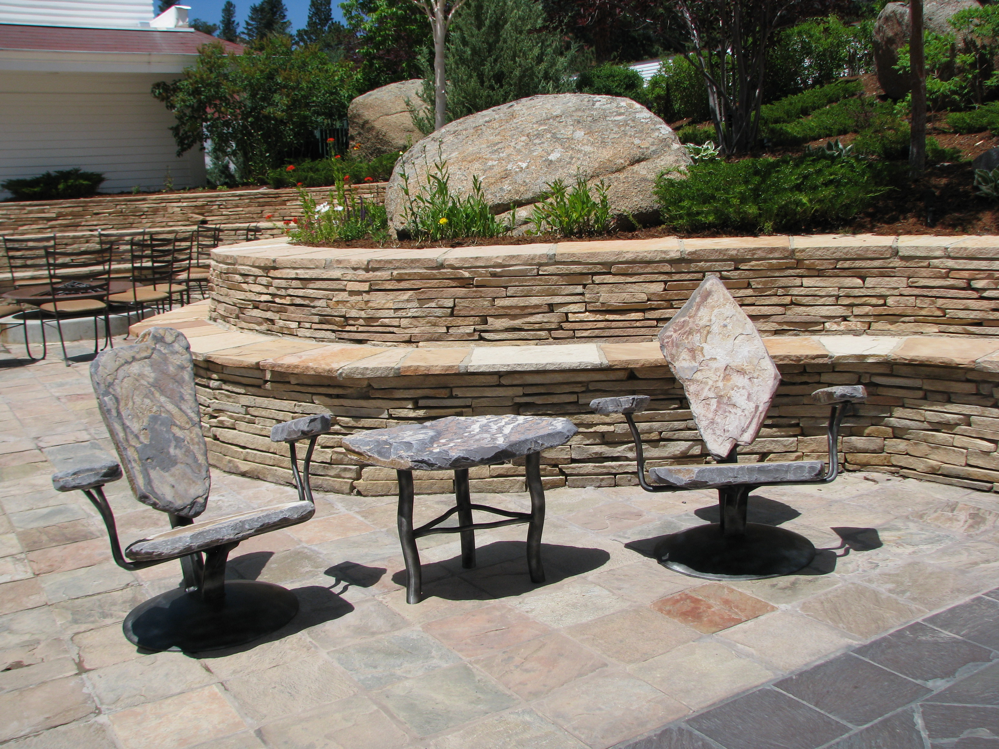 Stone furniture outdoor furniture pool furniture for Outdoor poolside furniture
