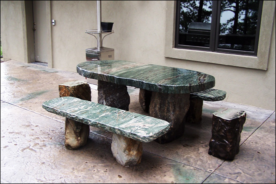 Large Green Marble Picnic Table With 2 Benches And 2 Stools.