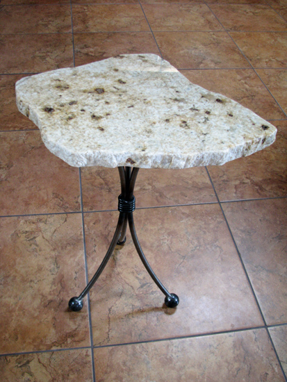 small end table, stone table, wine buddy